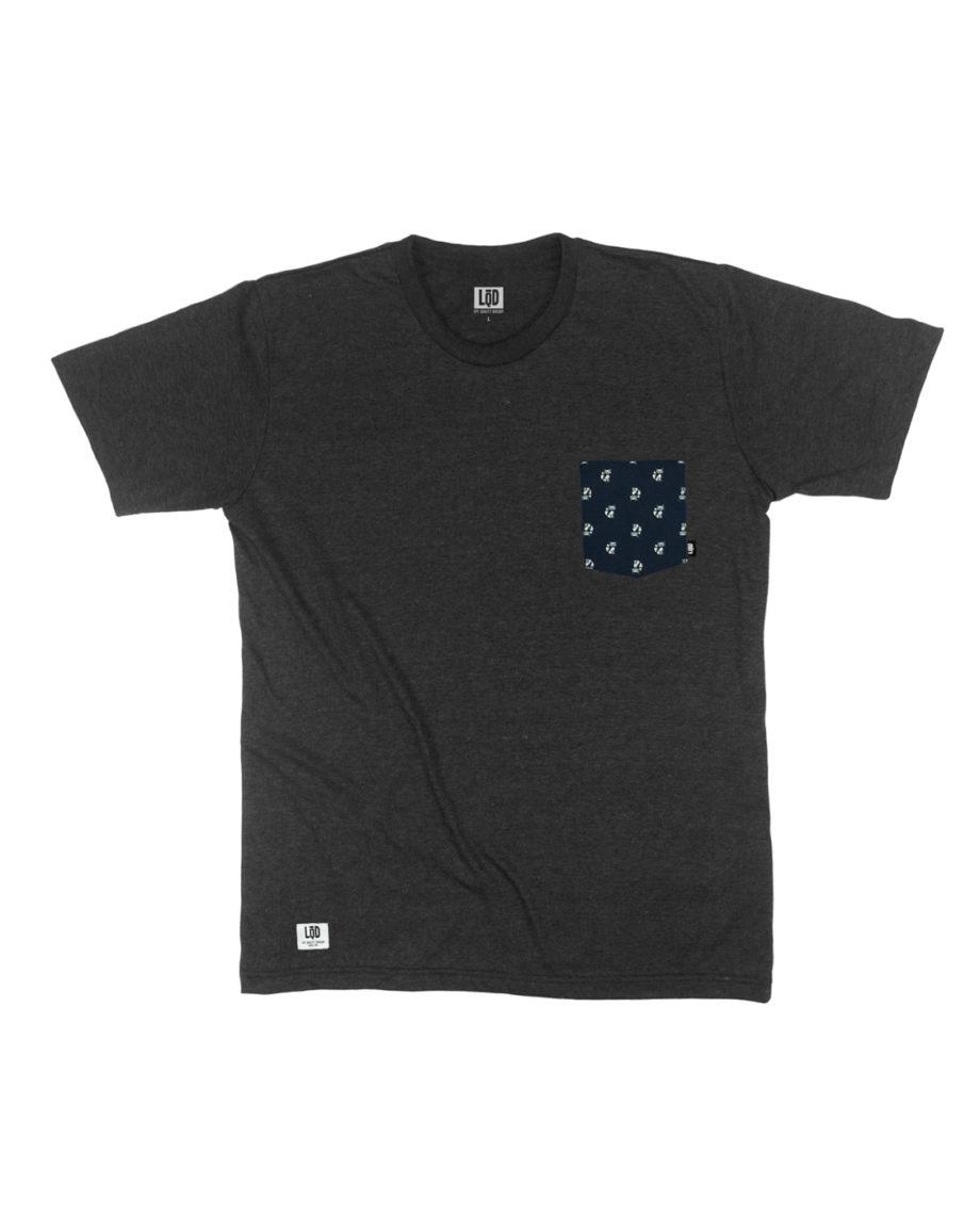 LQD Mr Fox Black pocket t shirt