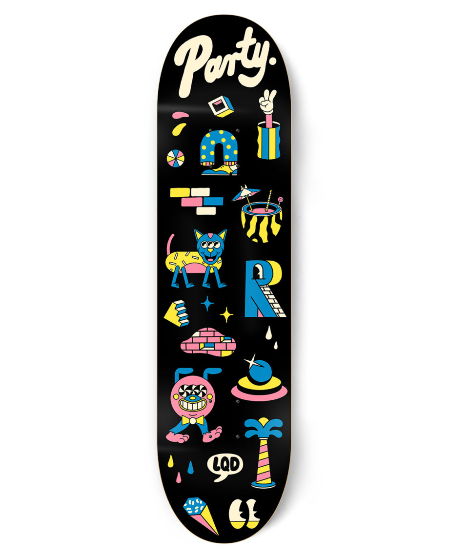 LQD Party yellow skateboard deck