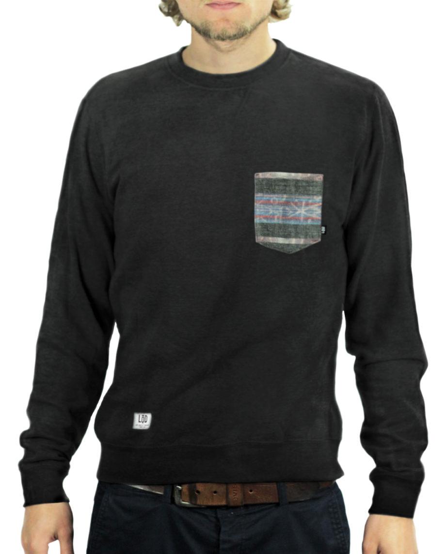 LQD Siam Black pocket crew sweater