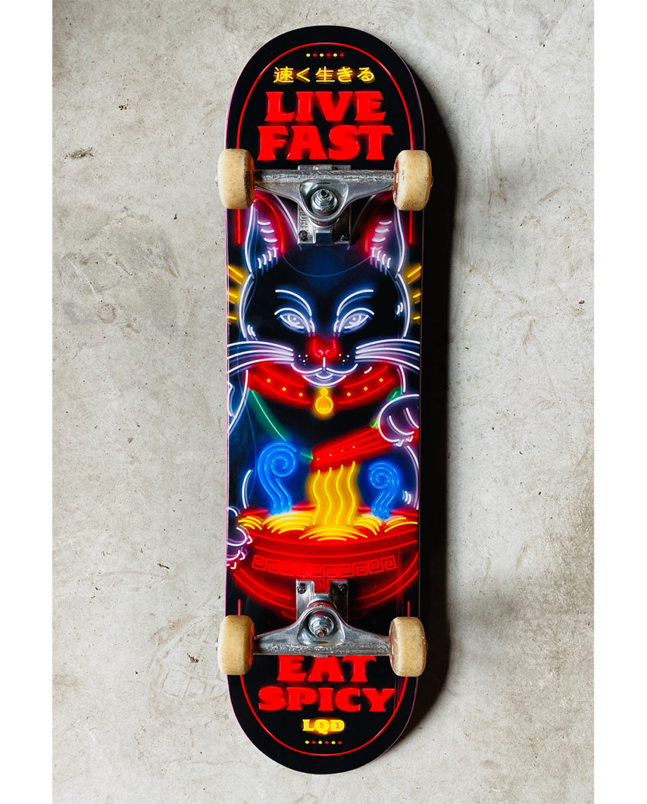 LQD Live Fast Eat Spicy skateboard deck